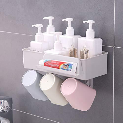 YJJY Wandhouder voor tandenborstel in de badkamer, stootvrij badkamerrek, multifunctionele mondschalen set