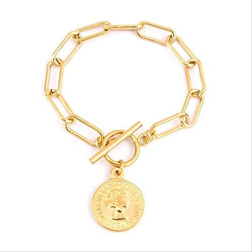 Armband Schmuck Edelstahl Gold Silber Lange O-Kette Münzarmband Für Frauen Jungfrau Maria Medaille Pulseras Mujer 19,5 Cm