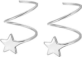925 أقراط نجمة من الفضة الاسترليني للنساء في سن المراهقة بنات أزياء ستار لف أقراط