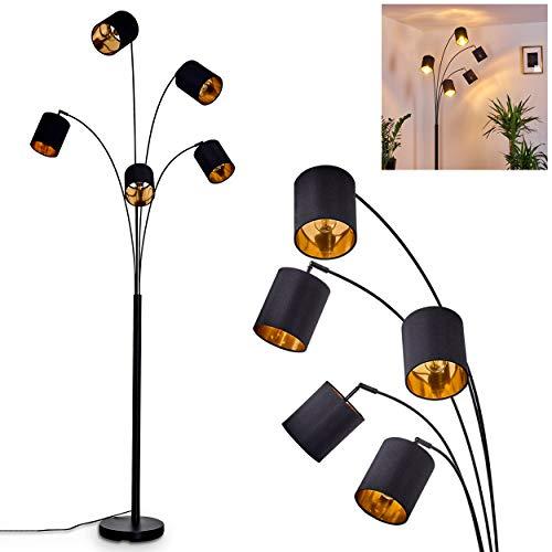 Lámpara de pie Bhutan, lámpara de pie de metal y tela en negro/oro, 5 focos, 5 casquillos E14, máx. 40 W, lámpara moderna con cabezales ajustables e interruptor de pie en el cable, apta para LED