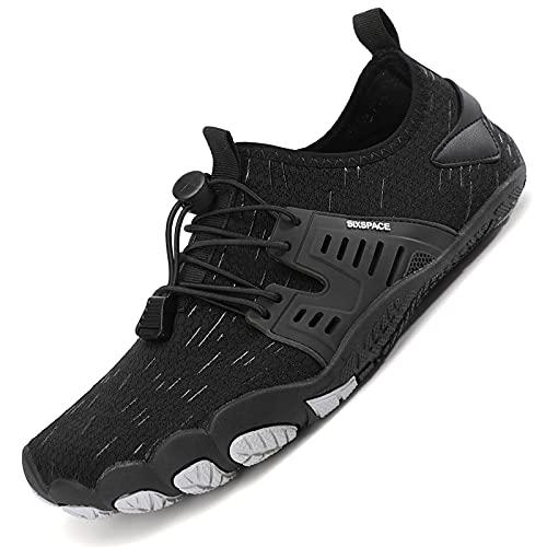 Sixspace Unisex Badeschuhe Barfuß-Softschuhe mit Weich Dicke Sohle Atmungsaktive Tragbare Laufschuhe Trailrunning-Schuhe Fitnessschuhe Sportschuhe Schwarz(45 EU)