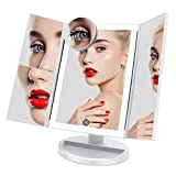 FASCINATE Trifold Lighted Makeup Mirror 3 Color Lighting Modes 72 LEDs Makeup Vanity Mirror with 10X/3X/2X/1X Magnification, Cord & Cordless, 180°Rotation Touch Screen Cosmetic Mirror White