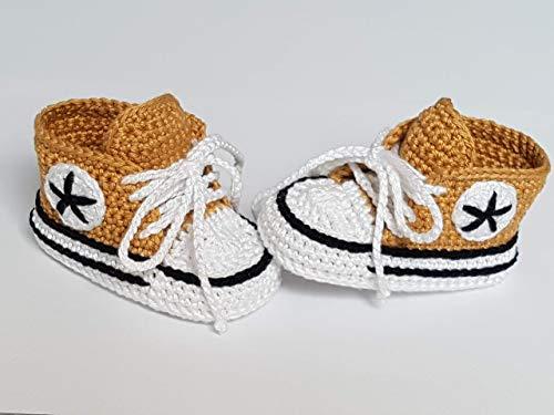 Babyschuhe gehäkelt-Sneakers-hellbraun/schwarz-Turnschuhe-Sportschuhe-Krabbelschuhe