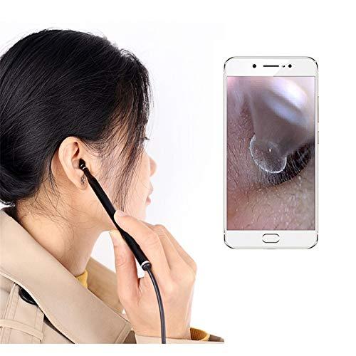 Endoscopio Usb Ear Camera Otoscope3.9Mm Hd Ear Scope endoscopio visiva Ear endoscopio con cerume dell orecchio Compatibile Cleaner for Android per rilevatore di condotte fognarie, ( Color : Black )