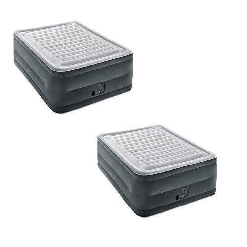 Intex Comfort High Rise Dura Beam Air Mattress w/ Built-In Pump, Queen (2 Pack)