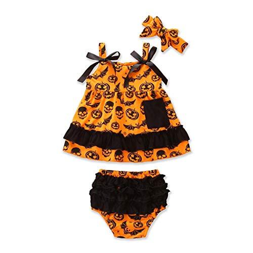 Liumintoy Enfant Bébé Garçons Filles Barboteuse pour Halloween Cosplay Costume, Citrouille Barboteuses Body Ensembles Vêtements Set,24to36months