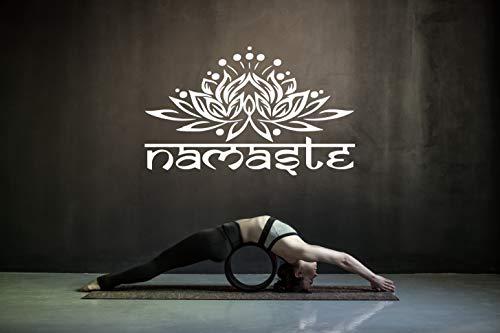 Namaste Ornament Wandtattoo Indisch Yoga Sanskrit Lotus Blume Vinyl Aufkleber (42cm (H) x 60cm (B), Weiss)