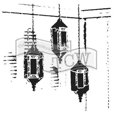 The Crafter 's Workshop juego de 2plantillas–Exotic lámparas–12x 12tamaño grande y 6x 6pulgadas Mini–incluye 1cada tcw786y tcw786s–Paquete de 2artículos