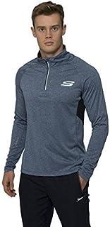 Skechers Mens Quick Dry Sports T-Shirt Long Sleeved Half Zip Top Tee Active Wear