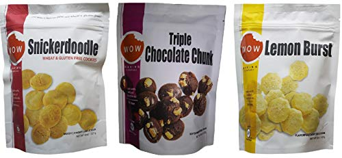Wow Baking Moist, Chewy, Delicious Cookies | Certified Gluten Free | Simple All Natural Ingredients | 3 Pack Assortment (Snickerdoodle, Triple Chocolate & Lemon)