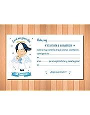 Invitaciones - Recordatorios para Bautizo Niño - Bonitas y Elegantes - (Pack 12 invitaciones + 12sobres)