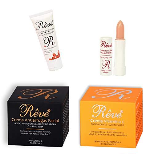 REVE Pack de Crema Antiarrugas Facial Argán con Ácido Hialurónico +