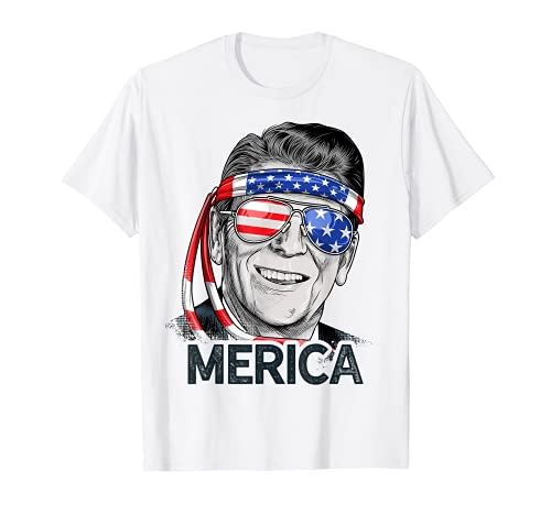 Reagan Ronald Merica 4th of July T shirt Men US President