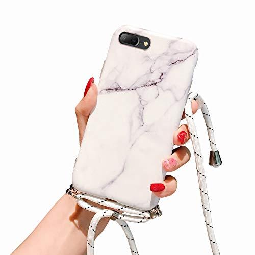 Suhctup Compatible con iPhone 6 Plus/6S Plus Funda de Silicona con Cuerda Colgante Ajustable Collar Correa de Cuello Carcasa de TPU Suave Mármol Diseño Antigolpes Bumper Protección Caso-A2
