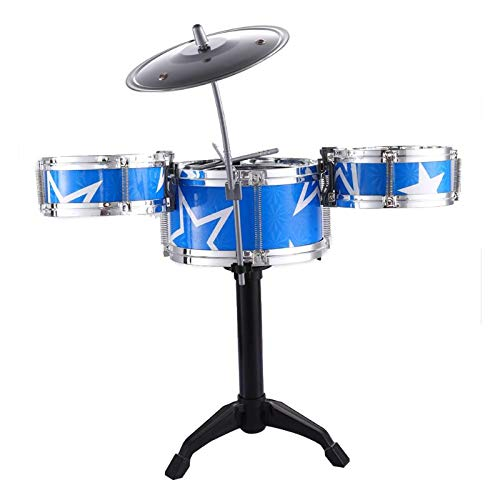 Blossom (7 -Piece Set) Mini Jazz Drum Instruments Set Kit Musical Toy with High Straight PVC Material Drumhead for Kids, Random Color