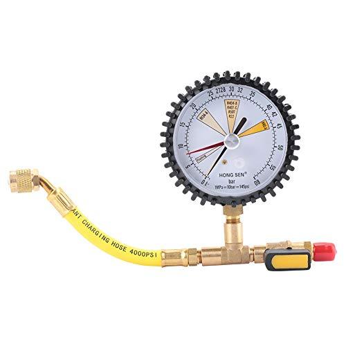Manoreductor Nitrogeno BiuZi, 1/4 SAE Pulgada 80mm Diámetro de la Cabeza Prueba de Presión de Nitrógeno Válvula Esférica Indicador de Presión de Nitrógeno for Equipos de Refrigeración