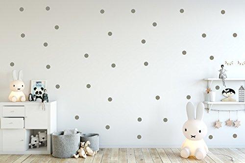 timalo® - Wandtattoo 64 Stück graue Punkte Aufkleber 73066