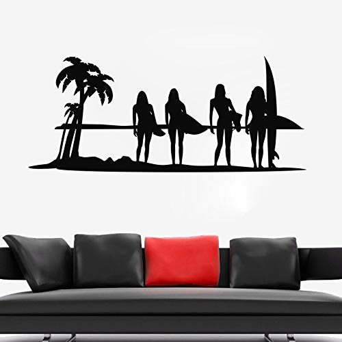 Ajcwhml Ocean Surf Girls Tatuajes de Pared Surfing Wave Etiqueta de la Pared Mar Playa Decoración Verano Tatuajes de Pared para surfistas Vinilo Arte 30x72cm: Amazon.es: Hogar