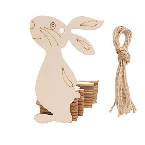 Dasongff Ostern Deko Holz Tier-Motiv Holzscheiben Hahn Hen Kaninchen Ostereier Blume Basteln DIY Handwerk klein Holzherz Dekoration
