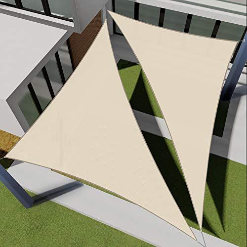 E&K Sunrise 8' x 8' x 11' Right Triangle Sun Shade Sail, Shade Fabric Cover Backyard Deck Sail Canopy UV Block - Beige