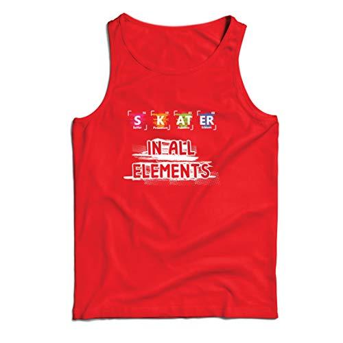 lepni.me Camisetas de Tirantes para Hombre Patinador en Todos los Elementos Química Periódica de Mesa Deporte (Small Rojo Multicolor)