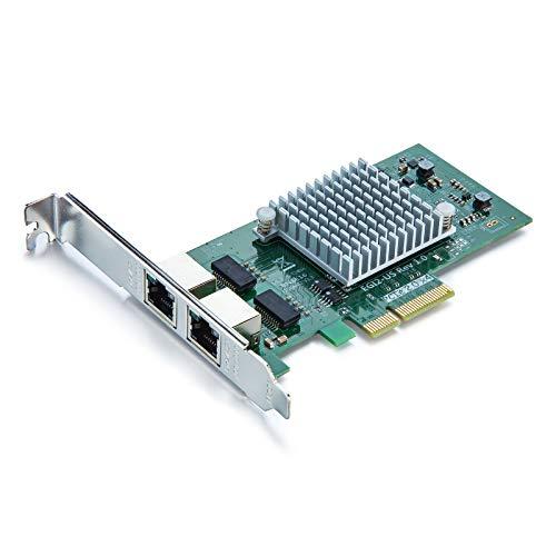 10Gtek para Intel I350-T2, Intel I350AM2 Controladora 1Gigabit Tarjeta De Red Ethernet (Nic/CNA), PCIE 2.0 X4, Puerto Dual RJ45
