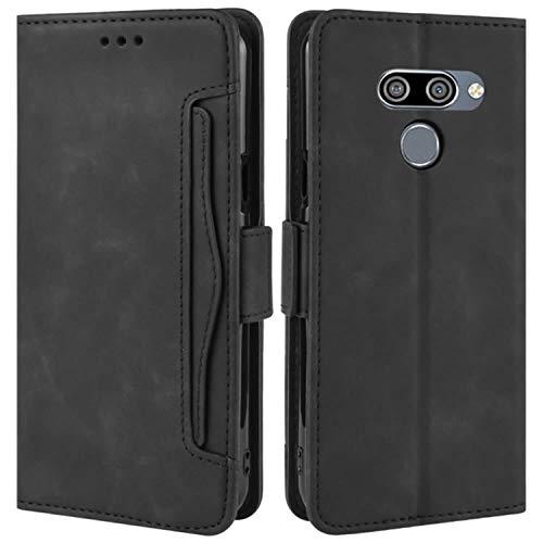 HualuBro Handyhülle für LG Q60 Hülle, LG K50 Hülle Leder, Flip Hülle Cover Stoßfest Klapphülle Handytasche Schutzhülle für LG Q60 / LG K50 Tasche (Schwarz)