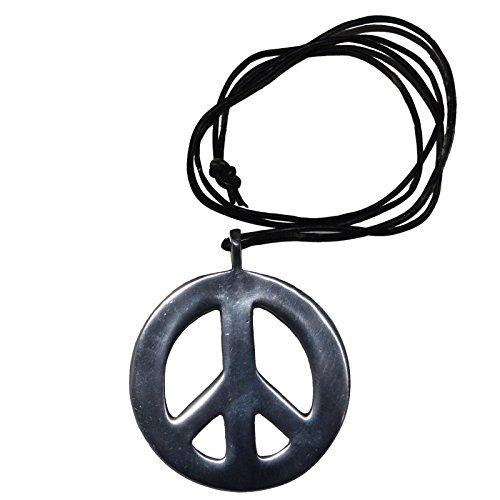 Unbekannt Peace Halskette Anhänger Hippie Surferkette Vintage Leder Aluminium Kette Friedenssymbol