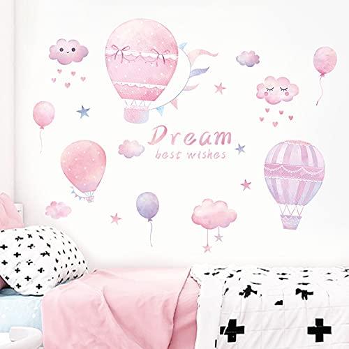 PMSMT Pegatinas de Pared de Globo de Aire Caliente Rosa DIY calcomanías murales de Nubes Rosas hogar niños decoración de Habitaciones de bebé Pegatinas de habitación de Princesa