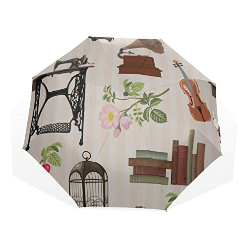 Basic Travel Umbrella Retro Cartoon Sewing Machine Clothing 3 Fold Art Umbrellas(outside Printing) Best Travel Umbrella Compact Windproof Umbrellas For Women Rain Umbrella Compact