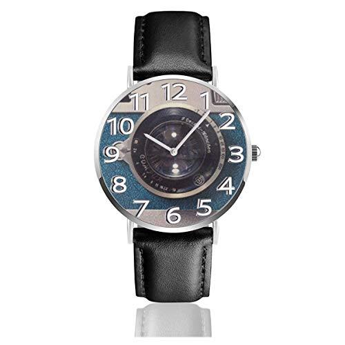 Reloj de Pulsera Cámara Impreso Durable PU Correa de Cuero Relojes de Negocios de Cuarzo Reloj de Pulsera Informal Unisex