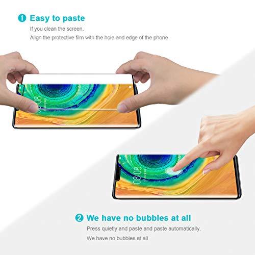 SHINEZONE Panzerglas für Huawei Mate 30 Pro, (2 Stück) Vollbild-Abdeckung [9H] Härte Anti-Kratzen Schutzfolie HD Ultra Klar Blasenfrei Displayschutzfolie für Huawei Mate 30 Pro - 2