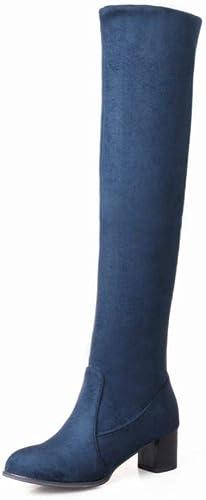 ZHRUI Stiefel para damen - Stiefel cálidas de Rodilla de otoño e Invierno Stiefel acentuadas Stiefel Martin elásticas Planas 34-43 (Farbe   Blau, tamaño   41)