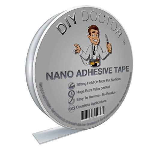 DIY Doctor Multifunktionales doppelseitiges Klebeband - Nano Tape - Wiederverwendbares starkes Klebeband - Ablösbares Gel-Klebeband – Kleben statt bohren – 5m x 30mm