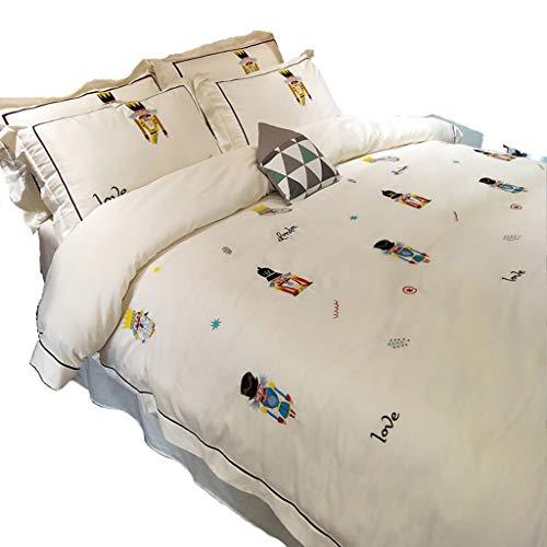 Duvet Covers Bettbezug Bettwäsche 4 Stück Komplett-Set enthält X1 Bettbezug X2 Kissenbezüge und X1 Spannbettlaken GCSQF (Size : 2 m(6.6 ft))