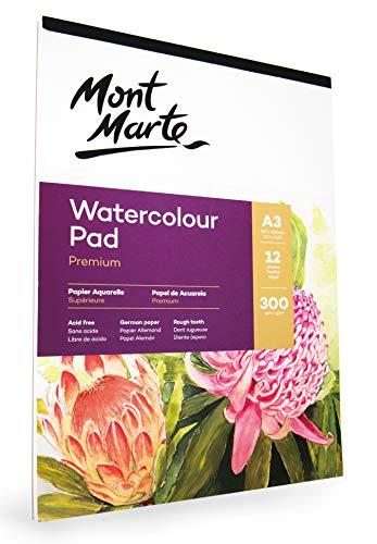 Mont Marte Papel Acuarela A3-300gsm - Bloc Acuarela Premium - 12 hojas - Ideal para la Pintura en Acuarela - Perfecto para Principiantes y Profesionales