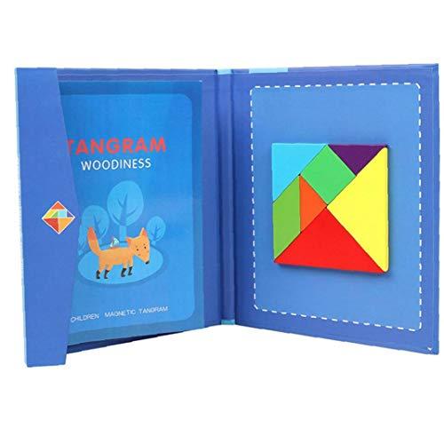 Madera Tangram Tangram Puzzle magnético juguete rompecabezas para la Educación Montessori para niños, juguetes para niños