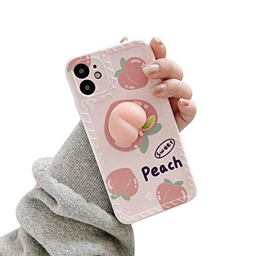 Aikeduo for iPhone 11 Case, Decompression Finger Pinch Cute Soft Silicone Poke Squishy 3D Peach Pink Phone Back Protective Kawaii Cover for Apple iPhone 11 6.1 inch (iPhone 11, Purple)