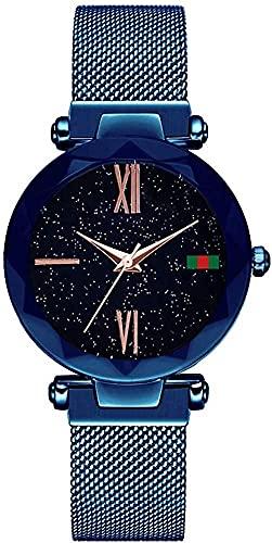 QHG Mujeres Lady Fashion Acero Malla de Acero Relojes de Cuarzo Impermeable Imán Hebilla Banda Número Romano Cuarto Starry Sky Slim Relojes (Color : Silver-Blue)