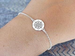 Bracelet boussole argent 925 -Bracelet fin rose des vents- Bijou wanderlust -Compas -Accessoire Voyage -Direction -Cadeau ...