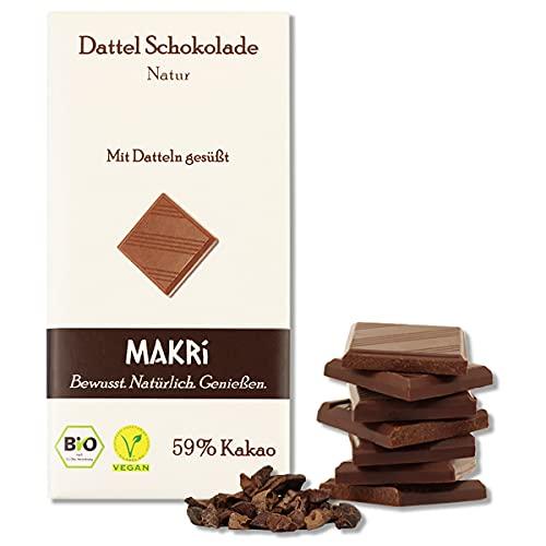 MAKRi Dattel Schokolade – Natur 59%   Mit Datteln gesüßt   Vegan & Bio   Fair gehandelt   Ohne raffinierten Zucker (1x 85g)