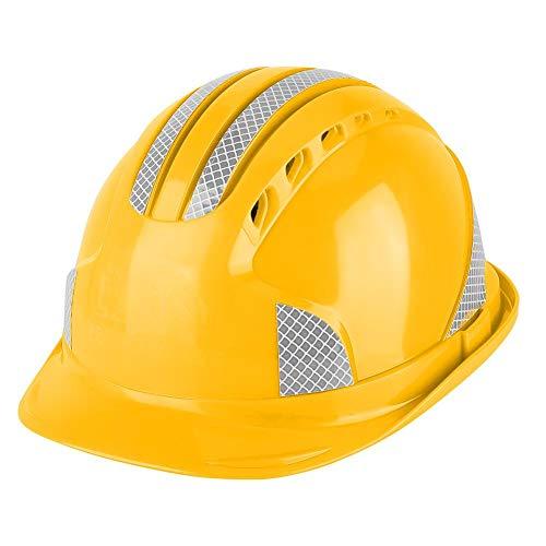 Casco de Seguridad, diseño de ala Corta Casco Protector Tipo T de Moda, Soldador, Electricista, Trabajador, reparador(Yellow)