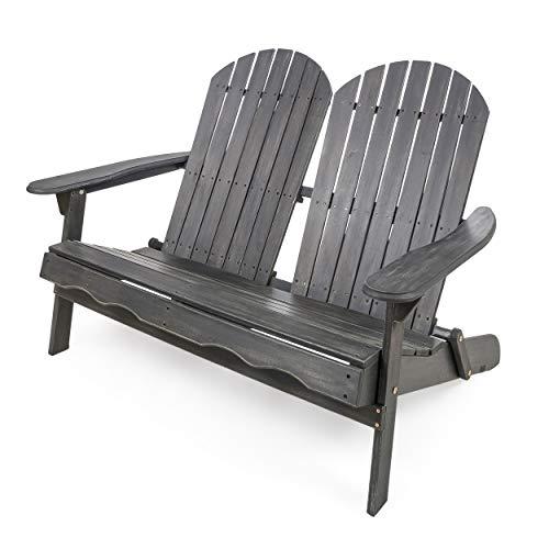 Christopher Knight Home 304033 Muriel Outdoor Dark Grey Finish Acacia Wood Adirondack Loveseat