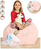 Anzitinlan Ballet Unicorn Beanbag for Organizing Children Plush Toys, Girl's Stuffed Animal Storage Bean Bag Chair for Kids Room, Baby Fleece Super Soft, Beanbag Cover Only, 22x24x20 Inch