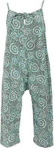 Guru-Shop – Mono de verano estilo étnico boho oversize, mono, mujer, algodón, pantalones largos, ropa alternativa azul turquesa S
