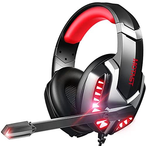 Motast Auriculares Gaming con Cable para PS4 Xbox One Nintendo Switch, Cascos Gaming con Bass Surround, Auriculares con Micrófono, Cancelación de Ruido, Auriculares Diadema con 3.5mm Jack con Luz LED
