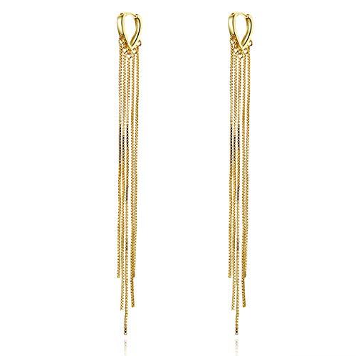 VOROCO 925 Sterling Silver Long Chain Ear Line Plated Gold Copper Tassel Threader Dangle Drop Earrings Hoop Handpicked Freshwater Cultured Pearl for Women Girls Lightweight tassel