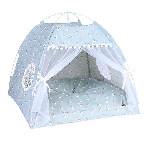 Ibluelover Portable Cat Puppy Kennel Tent Bed for Dogs Cats Rabbits Nest with Removable Cushion Mosquito Net Window Breathable Cat Toy Basket for Cat Kitten Home Travel Camping