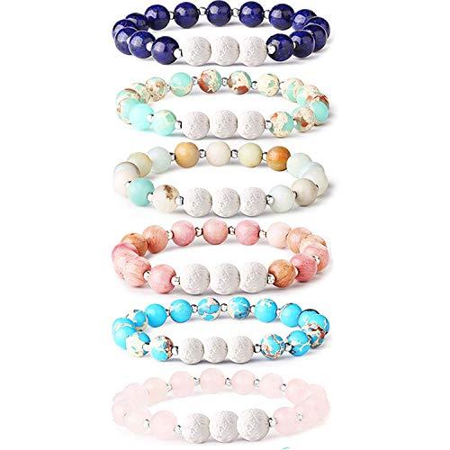 Milacolato 6Pcs Lava Rock Stone Aromatherapy Essential Oil Diffuser Bracelet for Women Girls Natural Gemstone Healing Crystal Bracelet