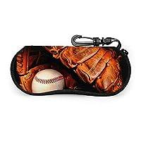野球 黒 ボール メガネケース メガネポーチ 擦り傷防止 ファスナー式 フック付き サングラスケース かわいい 眼鏡入れ 筆箱 眼鏡ケース めがねケース 化粧バッグ おしゃれ
